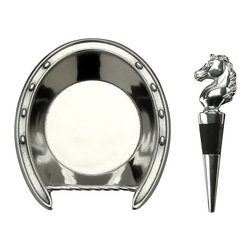 Arthur Court - Horseshoe Coaster & Horse Stopper set - Celebrate your love for all things equine with this stately horseshoe shaped coaster and sculptural horse stopper set. Crafted from gleaming aluminum, this set will allow you to bring the regal beauty of horses to your wine presentation. This sleek set is also refrigerator and freezer safe.