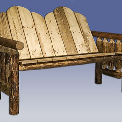 "Montana Woodworks - Glacier Country Log Deck Bench - 20-year limited warranty. Made from solid, American grown pine. Hand-crafted in the US, each Montana Woodwork product is made from unprocessed, solid wood that highlights the character of its source tree with unique knots and grains. Made in USA. Minimal assembly required. 52 in. W x 30 in. D x 37 in. HThe perfect place to relax and chat, this two person bench will surely be the place to catch up on the day's events or just watch the sun set with someone at your side. Finished in the ""Glacier Country"" collection style for a truly unique, one-of-a-kind look reminiscent of the Grand Lodges of the Rockies, circa 1900."