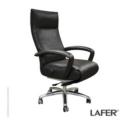 Lafer Gaga Executive Recliner - Lafer introduces a different concept in their line of modern executive recliners with Gaga Executive featuring a 5-star swivel base. The foam seat upholstered with top grain quality leather gives you the ultimate comfort and relaxation.