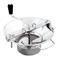Paderno World Cuisine - Sieve for 8-Quart Stainless Steel Food Mill with 5/64-in. Perforations - This Paderno World Cuisine sieve for the 8-quart stainless steel food mill with 5/64-in. perforations is used to strain or puree fruits and vegetables. By placing cooked fruits or vegetables in the mill and turning the crank, the semi-circular blade oversweeps, compresses and scrapes the food. The bar that straddles the container applies constant pressure against the cutting plate and crushes the food, while retaining seeds, skins and fibers. The basket sieve cutting plate allows for larger amounts of food to be milled at one time. This food mill's output is approximately 10 lbs. per minute and fits on any 10-1/4 in.  to 24 in.  receptacle. This sieve is sold separately from the mill.