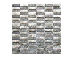 Eden Mosaic Tile - Stainless Steel Bricks and Grey Basalt Stone Mosaic Tile, Sheet - Thrilling texture and chic sophistication are all yours with this two-tone tile mixing stone and stainless steel. Dress up your favorite spots with the drama and depth of this linear pattern. Samples are approximately 1/6 to 1/4 of a regular sized sheet. Please note: Sample tiles are not returnable. Only one sample per style is allowed. Only five samples may be ordered.