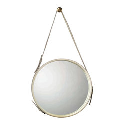 """Jamie Young - Jamie Young Round White Hide Large Mirror - The large White Hide mirror has a rustic vibe, in a fresh and creative design by Jamie Young. Hang one or several in varying heights for a unique contemporary accent. 26""""Dia. x 3""""W; Adjustable 3""""W hanging strap; Includes silver knob"""