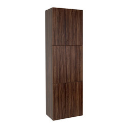 Fresca - Bathroom Linen Cabinet w 3 Large Storage Cabinet - Product Material: Wood. Finish: Walnut. 3 Large Storage Areas w/ Soft Closing Doors. 17.75 in. W x 12 in. D x 59 in. HThis great side cabinet comes with a Walnut finish. It features 3 large storage areas with soft closing doors.