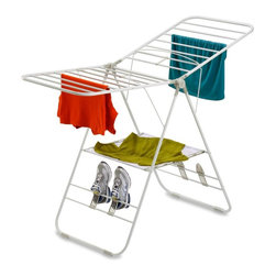 Honey Can Do - Heavyduty Gullwing Drying Rack - Sturdy design, expandable, folds flat for storage. Folded: 42 in. H x 23.5 in. W x 3 in. D, extends to  64 in. W