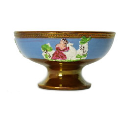 None visible - Consigned Lustre Glazed and Painted Sugar Bowl with Applied Garden Decoration - Sugar serving bowl on foot, lustre glazed and painted in blue with molded vignettes of children playing in the garden, antique English, circa 1840. Ideal for a fancy tea party.This is an antique One of a Kind item. Some wear and imperfections are to be expected, as described.