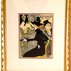 """Consigned 1950s Divan Japonaise by Toulouse-Lautrec - 1950s reprint of Toulouse-Lautrec's 1890s poster from Andre Sauret's catalog raisonn̩, published in conjunction with Edouard Julien, the curator of the Mus̩e Toulouse-Lautrec in Albi, France. Design is one of 33 selected as representative of the artist's best work. Lithograph printed by Toulouse-Lautrec's printer of choice, Mourlot, on filigreed paper in Paris. Image, 7""""W x 10""""H. Displayed with mat in a gold wood frame."""