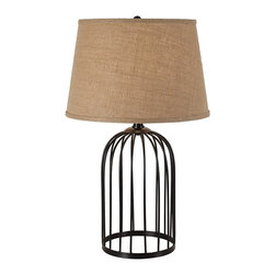 Lamps Plus - Edwina Black Cage Cloche Table Lamp - The bird cage style base of this classic table lamp is topped by a burlap fabric shade for a stylish look. The Edwina table lamp that is sure to uplift any modern, transitional, or traditional living space! This design features a black finish caged base in the shape of a cloche. Up top, a stately empire shade, wrapped in burlap fabric, softens the glow of the bulb. Place atop any surface for a design that is both stylish and functional.