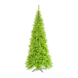 Vickerman Lime Slim Fir Pre-lit Christmas Tree - The Vickerman Lime Slim Fir Pre-lit Christmas Tree is a beautiful lime green fir tree that boasts a variety of features to give your holiday a slight twist on tradition. The tree features PVC tips with hinged branch construction, as well as an on/off foot pedal switch for your convenience.Specifications for 10-foot tree Shape: Slim Base Width: 50 inches Number of Bulbs: 900 Number of Tips: 2260Specifications for 9-foot tree Shape: Slim Base Width: 46 inches Number of Bulbs: 700 Number of Tips: 1798Specifications for 7.5-foot tree Shape: Slim Base Width: 40 inches Number of Bulbs: 500 Number of Tips: 1238Specifications for 6.5-foot tree Shape: Slim Base Width: 34 inches Number of Bulbs: 400 Number of Tips: 948Specifications for 5.5-foot tree Shape: Slim Base Width: 30 inches Number of Bulbs: 300 Number of Tips: 722Specifications for 4.5-foot tree Shape: Slim Base Width: 24 inches Number of Bulbs: 200 Number of Tips: 400 Don't Forget to Fluff!Simply start at the top and work in a spiral motion down the tree. For best results, you'll want to start from the inside and work out, making sure to touch every branch, positioning them up and down in a variety of ways, checking for any open spaces as you go.As you work your way down, the spiral motion will ensure that you won't have any gaps. And by touching every branch you'll create the desired full, natural look.About VickermanThis product is proudly made by Vickerman a leader in high quality holiday decor. Founded in 1940, the Vickerman Company has established itself as an innovative company dedicated to exceeding the expectations of their customers. With a wide variety of remarkably realistic looking foliage, greenery and beautiful trees, Vickerman is a name you can trust for helping you create beloved holiday memories year after year.