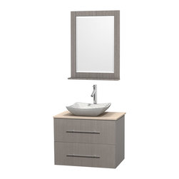"""Wyndham Collection - Centra 30"""" Grey Oak Single Vanity, Ivory Marble Top, White Carrera Marble Sink - Simplicity and elegance combine in the perfect lines of the Centra vanity by the Wyndham Collection. If cutting-edge contemporary design is your style then the Centra vanity is for you - modern, chic and built to last a lifetime. Available with green glass, pure white man-made stone, ivory marble or white carrera marble counters, with stunning vessel or undermount sink(s) and matching mirror(s). Featuring soft close door hinges, drawer glides, and meticulously finished with brushed chrome hardware. The attention to detail on this beautiful vanity is second to none."""