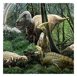 Brewster Home Fashions - Dinosaur Jurassic Jungle Prepasted Wall Accent Mural - Features: