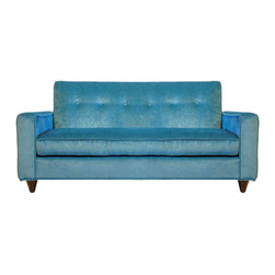 "Mini Gavin 50"" Sofa - Offering the clean lines of a midcentury piece - the Mini Bowie Sofa accents any modern playroom. Just like the Bowie Sofa - this version has hand button tufting - too."