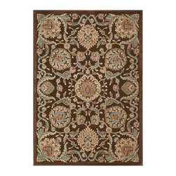 """Nourison - Nourison Graphic Illusions GIL17 2'3"""" x 3'9"""" Chocolate Area Rug 13265 - Oriental-inspired arabesques and blossoms grace this utterly elegant area rug in a sophisticated study of gold, beige, blue, ivory and chocolate brown. Detailed hand carving and a high-low loop pile construction create a marvelous tone and texture."""