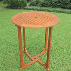 """International Caravan - Royal Tahiti 36"""" Bar Height Round Patio Table - Made from Premium Balau Hardwood. Very easy to assemble. Premium outdoor weather protection. UV Light Fading Protection. Stain Finish. 36 in. W x 36 in. D x 42 in. H (40 lbs.)"""
