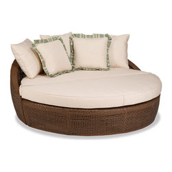 Thos. Baker - huntington daybed w/ cushion - The huntington collection features a contemporary design in an open-weave premium outdoor wicker. Powder-coated aluminum subframe. Plush Sunbrella® cushions. Tempered glass table tops. Please remember made-to-order cushion sales are non-refundable.