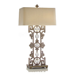 Frontgate - Greek Key to My Heart Table Lamp - Handcrafted of metal, glass, and composite. Champagne silk shade. Socket accommodates one 60-watt bulb. 6 ft. cord. UL listed. This ornamental lamp features varying patterns meandering up from the base. The Greek key design and lyrical shapes frame the center pillar of glass orbs. .  .  .  .  . Imported.
