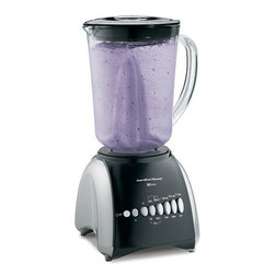 Hamilton Beach - Wave Maker 10 Speed Blender - Durable, dishwasher-safe glass offers smooth performance.Hamilton Beach Glass Jar Blenders use the patented Wave~Action system to make delicious smoothies, milkshakes and other frozen drinks with consistently smooth results - and no ice chunks in your finished product. Whether you 're blending drinks for a party or mixing soups or batters, a Hamilton Beach Blender is a must-have for your contemporary kitchen.Packed with smart features, these durable blenders offer a sturdy glass jar (glass jug) with ample capacity, measuring marks and a comfortable handle for easy pouring. Hamilton Beach Glass Jar Blenders are easy to use and dishwasher safe, with great blender performance you can depend on.Revolutionary Wave Action system pulls mixture down into the blades for smooth results48 oz. dishwasher safe glass jar550 Watt peak-power motor3 year limited warrantyPatented stainless steel Ice Sabre blades