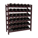 36 Bottle Stackable Wine Rack in Redwood with Burgundy Stain - A pair of discounted wine racks allow double wine storage at a low price. This rack accommodates all 750ml bottles, Pinots and Champagnes. The quintessential DIY wine rack kit. Your satisfaction is guaranteed.