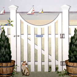 """Stencil Ease - Porthole Gate & Fence Garden Gate Mural Stencil - Porthole Gate & Fence Garden Gate Mural Stencil Contains: 5 - 9"""" x 18"""" Stencil Sheets Actual size: 49 1/2"""" high x 45"""" wide at Post (125.73 cm x 114.30 cm) This stencil may be used alone or in combination with other Garden Gate Stencils.  This design was painted using the following Spill Proof stencil paint colors: Suggested Paint Colors:Black and white acrylic or latex paint purchased from local paint or hardware store."""