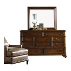 Hooker Furniture - Hooker Furniture Lassiter Ten Drawer Dresser and Mirror Set in Cherry - Hooker Furniture - Dressers - 51429000290008PKG