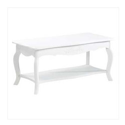 White Elegant Coffee Table - This pretty white coffee table would look great in a cottage, shabby chic or beach themed interior.  The bottom shelf offers great storage for books, magazines or a basket to hold all those remotes.