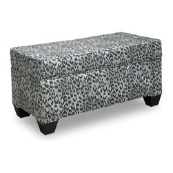 Skyline Furniture - Skyline Bosana Shadow Storage Bench Multicolor - 6225STBSNSHD - Shop for Benches from Hayneedle.com! Let the grey animal print of the Skyline Bosana Shadow Storage Bench bring out your decor's wild side! This stylish bench breathes new life into any setting with its fun fabric and functional design. This handcrafted piece features a removable seat that opens up to a spacious storage area where you can put away anything from media to linens and even your most prized possessions.About Skyline Furniture Manufacturing Inc.Skyline Furniture was founded in 1948 with the goal of producing stylish affordable quality furniture for the home. After more than 50 years this family-run business is still designing and manufacturing unique products that meet the ever-changing demands of the modern home furnishing industry. Located in the south suburbs of Chicago the company produces a wide variety of innovative products for the home including chairs headboards benches and coffee tables.