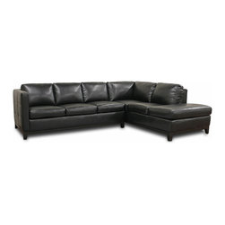 Baxton Studio - Baxton Studio Rohn Black Leather Modern Sectional Sofa - ???Beautiful??? does not begin to describe the understated, contemporary elegance of this versatile sectional sofa.  On the back and sides of the Rohn Sectional, individual black bonded leather panels are stitched together to create a classic yet modern look, so this set shines even when not against a wall.  This L-shaped sectional design includes a metal bracket between the sofa and chaise lounge to connect the pieces.  A wooden frame with black wood platform base and legs, dense foam cushioning, and non-marking feet finish off the contemporary sectional sofa.  All cushions are attached and can't be removed. Fully assembled.
