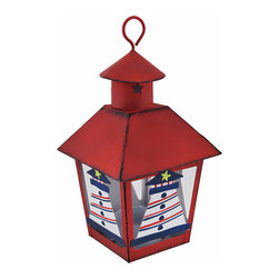 Zeckos - Red Nautical Lighthouse Mini Metal Tealight Lantern - This miniature metal tea light lantern can be displayed either hanging or sitting on a tabletop, making it a great little decor accent or part of a party centerpiece. The lantern is approximately 7 inches tall (not including the hanger), and measures 4 inches by 4 inches around the top. It is painted with a red enamel, has a distressed finish, and the lighthouses are hand painted. The tea light holder is removable from the bottom and can accommodate up to 1 1/2 inch tea light candles. Use battery operated LED tea lights for worry-free accent lighting that lasts all night. This lantern is a great accent in rooms, on porches, or at bars with beach or nautical themes.