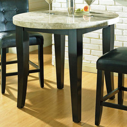 "Steve Silver - Monarch Marble Top Counter Table - The Steve Silver Monarch Marble-Top Counter Height Dining Table provides a classy refined look to any dining room. Offered in a deep black finish with a contrasting off-white marble top, this stylish set will complete any kitchen/dining room.;Features: Multi-Step Black Finish;Contemporary Style;Corner Block Construction on Chairs and Table;Tongue and Groove Joints;Weight: 115 lbs.;Dimensions: 40""L x 40""W x 36""H"