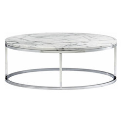 Smart Round Marble Top Coffee Table - This is another CB2 uberbargain. An elegant chrome base with a marble top for just under three hundred bucks. It will up the bling of your living room in one furniture store delivery.