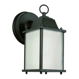 Trans Globe Lighting - Purisma Energy Efficient Outdoor Coach -Black - - Glass Type: Frosted - Rectangle  - Exterior use  - Energy Saving  - Material: Cast Aluminum  - Bulb not included  - Available in black, rust, or white with frosted glass  - Uses GU 24 bulb from 13 to 23 watts  - Made of cast aluminum and UL Listed for Wet locations  - Colonial outdoor energy saving fixture  - Outdoor energy saving lighting  - 1 Year Limited Warranty  - Standard mission outdoor coach light with round wall plate, tiered top cap, and a decorative top ring. GU 24 Down candle bulb in clear window box frame. Trans Globe Lighting - PL-40455BK