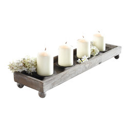 """Pier Surplus - 21"""" Antique Finish Wood Tray with Four Metal Candle Holders #CL221913 - This wooden candle tray is a wonderful way to add light to an evening meal or special event. Made from the finest wood, this 21"""" tray has been painted in brown and treated with an antique white finish, giving it an old world, shabby chic look. Four metal candle holders line the span of the tray, allowing for the safe display of their glow. A perfect gift for friend!"""