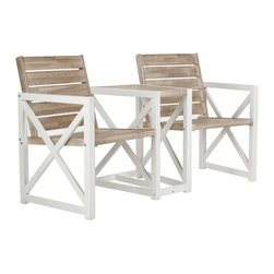 Safavieh - Safavieh Outdoor Jovanna White and Oak Bench - You and a friend can lounge in this pair of weather-resistant white outdoor benches. The contrasting white and oak colors give these chairs a rustic elegance that will add character to any outdoor scene. Keep these chairs outside in rain or shine.