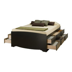 """Prepac - Prepac Sonoma Black Tall Queen Platform Storage Bed with 12 Drawers - Prepac - Beds - BBQ6212 - Increase storage space and get more space in your room at the same time. Imagine 12 large extra deep (19""""�) drawers in your bedroom even before you add in your night tables or any chest or dressers. Or get that bigger bed you've always wanted but never had the space for. It's an all-in-one bedroom suite under your mattress!"""