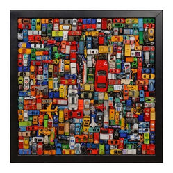 "ecofirstart.com - ""Car"" Art Contemporary Car Collage - Let your love for Matchbox cars live on into adulthood with this structured wall piece, constructed fully of recycled toy vehicles. This playful sculpture is framed in sustainable wood, and will bring a bit of whimsy and color to your decor."
