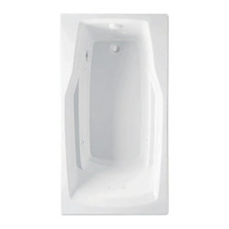 "Lasco Bathware - Aquatic 3760621 Acrylic Builders' Choice Whirlpool Tub, White - The Aquatic DERBY 3760621 is part of the Builders' Choice Series, and it measures 60"" x 32"" x 21"". This whirlpool bath features 8 hydrotherapy jets, a .75 HP pump, an advanced safety suction system, a bath-side on/off button, sculpted armrests, a slip-resistant floor, a universal drain, and a lucite cast acrylic surface. This model comes in a White finish. Additional finish options include: Linen, Biscuit, Bone, Almond, and Sterling Silver."