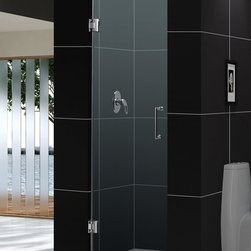"""Dreamline - Unidoor 28"""" Frameless Hinged Shower Door, Clear 3/8"""" Glass Door - The Unidoor single swing door combines premium 3/8 in. thick tempered glass with a sleek frameless design for the look of a custom glass door at an amazing value. Top quality solid brass self-closing hinges install glass-to-wall to create the completely frameless design. Choose the clean lines of the Unidoor to give your bathroom renovation a polished upscale appeal."""