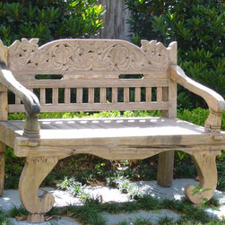Texas Tuscan Furniture Designs - Hand carved teak bench