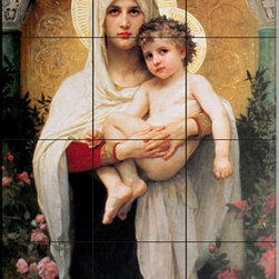 The Tile Mural Store (USA) - Tile Mural - Madonna Of The Roses - Kitchen Backsplash Ideas - This beautiful artwork by William Bougeureau has been digitally reproduced for tiles and depicts This beautiful artwork by William Bougeureau has been digitally reproduced for tiles and would be perfect as a kitchen tile backsplash, tub or shower surround or in the family room.William Bougeureau (1825 ~ 1905) created a lush fantasy realm filled with idealized mythological figures, angels, women and children. His masterful command of human form, delicate colors and enchanted light brought the souls and spirits of his subjects to life with captivating realism. A tireless worker, he created 800 life-size works whose unique style and subjects drew an enthusiastic following of students and imitators. A member of the French Academy, he singlehandedly opened it to women.  This Inspirational/Religious themed tile mural is perfect to add interest to your kitchen backsplash tile project. Inspirational images on tile are timeless and make an impressive tile mural for your kitchen backsplash or any wall in your home.
