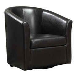 Coaster - Coaster Club Chair in Dark Brown Faux Leather - Coaster - Club Chairs - 902098 - Wrapped in a smooth dark-brown leather-like vinyl this barrel back chair has swivel mobility and comfortable seating.
