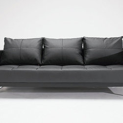 """Cassius Q Deluxe Black Leather Textile Sofa Bed - The sofa transforms into a full size bed by pulling the seat forward, and folding down the backrest. This """"Innovation USA"""" Cassius Q Deluxe Sofa Bed is an ideal solution for almost any home or commercial decor. The sofa has a stylish look with bold design combined with a great functionality. The back cushions are reversible. The sofa bed is upholstered in an Eco-friendly leather textile finished in Black."""