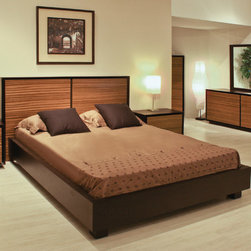 Furniture Resources - Murano Platform Bed - Features: -Materials: Solid wood, wood veneer.-Dramatic Zebra wood veneer headboard and wenge bed frame.-Platform bed with orthopedic slats.-Contemporary style.-Murano collection.-Distressed: No.-Collection: Murano.