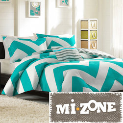 Mi-Zone - Mizone Aries Reversible 4-piece Duvet Cover Set - The Aries Duvet Cover Collection can update the look and feel of the bedroom room instantly. A bright teal and white chevron design on one side and a scaled-down grey and white chevron reverse catches the eye instantly.