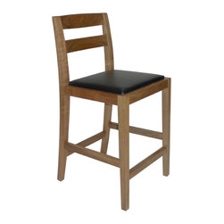 Gingko - Big Sur Counter Stool, Natural - Hold onto your seats. Handmade from gorgeous solid walnut, this sexy counter-height stool features graceful legs with sturdy stretchers, a lightly curved back and a soft padded seat. It's also available in dark or natural finishes — so you can pick your seats with ease.