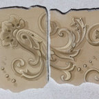 Lime painted samples of Italian decoration on gesso board - Small lime painted scroll on two seperated pieces of gesso panel. Nadia Beccaria
