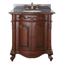 AVANITY PROVENCE 30 in. Bathroom Vanity - The Provence Collection is offered in a beautiful distressed cherry wood finish with hand carved French details. This vanity is available in five sizes with optional matching granite tops. It offers a concealed drawer inside all single cabinets for your storage needs. Coordinating pieces include matching mirrors and linen tower to complete the look.