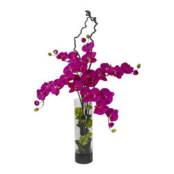 Giant Phalaenopsis and Hydrangea Silk Flower Arrangement - Now this is something to behold. A generously sized Phalaenopsis that will add pizzazz to any area it adorns. With green leaves on the stem, spiny stems that twist upwards, and the literal color explosion permeated by the lush blooms, this is a piece for anyone who requires something bold and beautiful. This master piece arrives with a handsome cylinder vase, faux water and black/gray river rocks. An ideal focal point for any room this gorgeous silk floral arrangement is not to be missed. Height= 47 in x Width= 30 in x Depth= 14 in