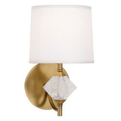 Robert Abbey - Juliet Wall Sconce - This lamp on your wall is pretty as a picture. A work of art in and of itself, you'll have no trouble finding things to hang around it — the aged brass, rock crystal, and white fabric go with everything! This is one contemporary piece you should not pass up.