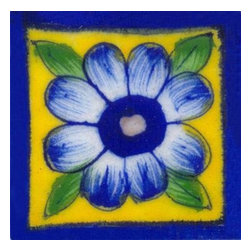 "Knobco - Tiles 2X2""Inch, Blue Bordered Yellow Tile With Blue Flower - Blue bordered yellow tile with blue flower from Jaipur, India. Unique, hand painted tiles for your kitchen or other tiling project. Tile is 2x2"" in size."