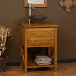"""24"""" Clinton Bamboo Vessel Sink Vanity - The 24"""" Clinton Bamboo Vessel Sink Vanity features a functional drawer and an open shelf for storage."""