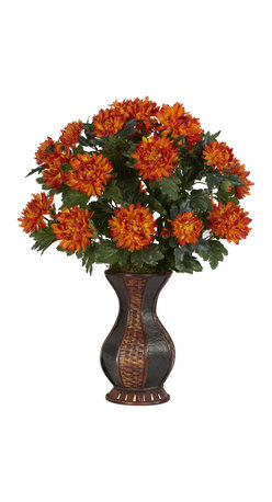 Nearly Natural - Nearly Natural Spider Mum with Urn Silk Plant - If you love color, then this is the plant for you. Blossoming at 29 inches tall, this spectacular Spider Mum will catch the attention of anyone who walks into the room. With rich, warm colors emanating from every flower petal, and surrounding, vibrant leaves, this is truly an amazing arrangement. Complimented by a sensational two-tone urn, this is a Spider Mum you won't mind being caught by.